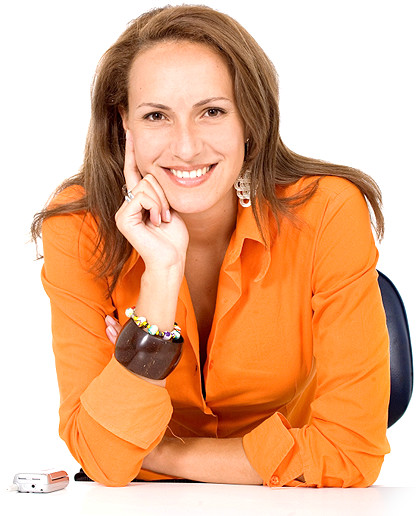 smiling lady with orange shirt