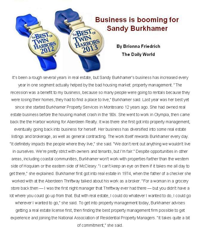 business is booming for Sandy Burkhamer article